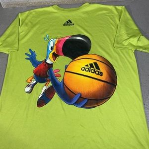 Adidas basketball toucan graphic tee shirt lime